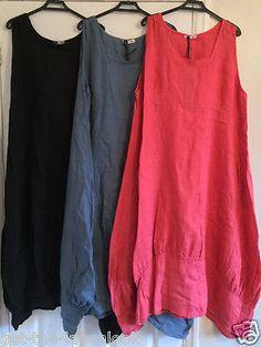 New-Plus-Size-LAGENLOOK-Quirky-BALLOON-Shaped-BOHO-Tulip-LINEN-Dress-XXL-50