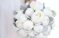 white winter flowers | whimsical wedding flowers white peony bridal bouquet