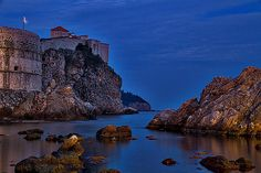 Photograph by Stuart Litoff.  The bay just outside the walls in Dubrovnik, Croatia