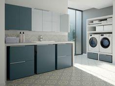 Armário para lavanderia modular com lavatório para máquina de lavar SPAZIO TIME 02 | Armário para lavanderia com lavatório by Idea