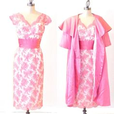 50s Dress 1950s Cocktail Dress & Swing Coat Pink by daisyandstella