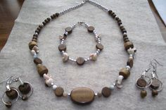 Wood and Shell Beaded Four Piece Jewelry by RichmondHillTreasure