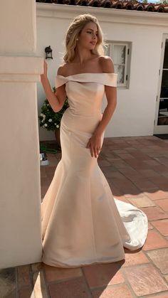 Convertible Satin Fold Over Mermaid Wedding Dress Moonlight Collection Rustic Wedding Dresses, Elegant Wedding Dress, Dream Wedding Dresses, Bridal Dresses, Wedding Gowns, Couture Wedding Dresses, Satin Mermaid Wedding Dress, Mermaid Gown, Form Fitting Wedding Dress