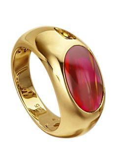 Ring mit Zirkonia für 49,99€. Damenring, 925er Silber, vergoldet, Zirkonia, Breite: 9 mm bei OTTO