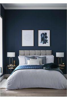 Blue Master Bedroom, Blue Bedroom Decor, Room Ideas Bedroom, Home Bedroom, Blue Feature Wall Bedroom, Blue Bedroom Colors, Midnight Blue Bedroom, Blue Bedroom Paint, Bedroom Ideas For Teen Boys