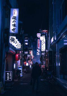 dark blue aesthetic Hazy Night in Shinjuku [OC]
