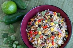 Southwest Quinoa Salad via My San Francisco Kitchen  This colorful dish would make a great side or lunch on its own. Rev up quinoa's natural protein with black beans and healthy fats from pistachios. Extra veggies add plenty of color and vitamins. The recipe calls for chili-lime pistachios, but you can also zest up regular old nuts by adding extra lime to the chili-lime vinaigrette dressing.
