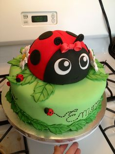 Ladybug Birthday Party Food Ideas and Recipes, Cakes and Cupcakes Fondant Cakes, Cupcake Cakes, Kid Cakes, Rose Cupcake, Ladybird Cake, Ladybug Cakes, Ladybug Birthday Cakes, Birthday Cakes For Kids, Ladybug Cake Pops