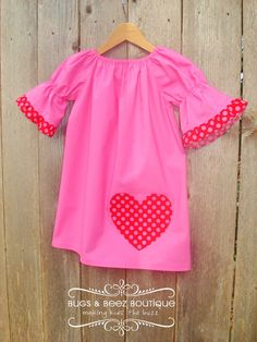 Valentine's Day Peasant Dress with Heart and 3/4 by BugsandBeez, $37.00