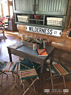 🌟Tante S!fr@ loves this📌🌟Cabin, Camp Style, Homework Station Lake Cabins, Cabins And Cottages, Vintage Cabin, Vintage Decor, Kabine, Lodge Decor, Decoration, Interior Design Living Room, String Lights