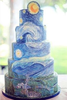 Van Gogh Starry Night cake by Anna Elizabeth Cakes