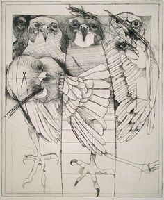 Rick Bartow : 3 Hawks, Drypoint, 12 x 10 inches, 2006 Illustrations, Illustration Art, Animal Drawings, Art Drawings, Intaglio Printmaking, Organic Art, Paul Klee, Native American Art, Gravure