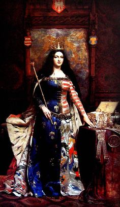 ~J Jadwiga of Poland by Antoni Piotrowski Jadwiga (1373/4 – 1399) was monarch of Poland from 1384 to her death. Her official title was 'king' rather than 'queen', reflecting that she was a sovereign in her own right and not merely a royal consort. She was a member of the Capetian House of Anjou, the daughter of King Louis I of Hungary and Elizabeth of Bosnia.She is known in Polish as Jadwiga, in English and German as Hedwig and in Latin as Hedvigis.