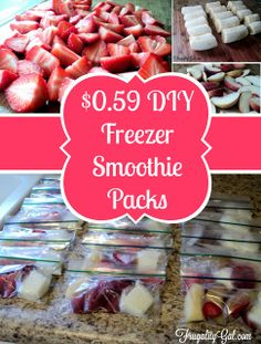 Make your own freezer smoothie packs and save a few bucks! Use your favorite fruit to customize your own smoothie packs. Yummy Drinks, Healthy Drinks, Healthy Snacks, Healthy Eating, Diy Snacks, Snacks Ideas, Healthy Recipes, Easy Smoothies, Smoothie Drinks