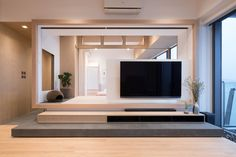 Pavilion Residential house design details, description and images. Small Apartment Design, Small Apartments, Interior Design Awards, Home Interior Design, Tv Console Design, Tv Feature Wall, Japanese Apartment, Japanese Home Design, Tatami Room