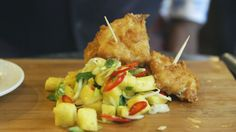 Salt cod fritters with pineapple salsa