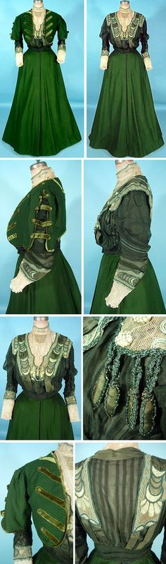 Three-piece walking dress, Metzner, New York, ca. 1906-07. Green ottoman silk/wool blend (probably) with velvet and lace trim.  Bolero with open sleeves to show embroidered silk, chiffon, and lace high-necked blouse with green silk tie belt. Antique Dress