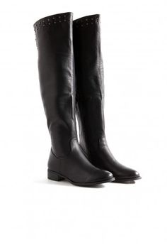 Missguided - Tatyana Pin Stud Knee High Boots In Leather Winter Wardrobe, Shoe Boots, Shoes, Missguided, Knee High Boots, Riding Boots, Footwear, Wedges, Leather