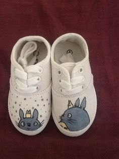 Update: Totoro shoes for baby.  Same as the Pokemon shoes, I got bored and decided to paint them.  I used silver and blue for the Totoro.  Its not noticeable unless you see them in person.