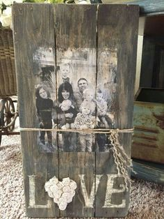 Family pictures of love on old wood