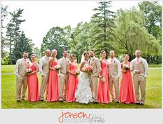 Coral bridesmaid dresses. And sand tuxes for the groomsmen. I like these colors. Style, not so much
