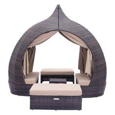 Resort Cabana Woven Lounger Set – Brown & Beige