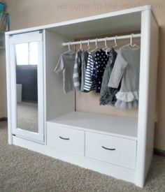 I turned an old entertainment center into a chic and adorable armoire for my daughter. I added an adjustable closet rod where the tube TV used to go, attached a mirror to the glass door, and painted the whole thing white!