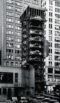 elevator garage with parking lot, chicago, 1936 • john gutmann