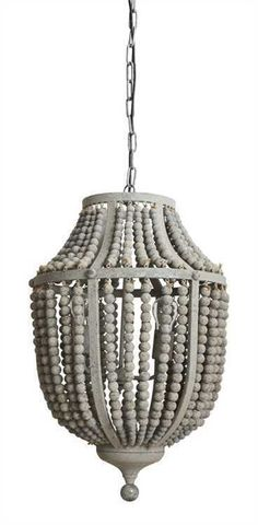BOHO CHIC STYLE GREY BEADED WOOD PENDANT CHANDELIER,17.5'' X 24''H #Unbranded #Contemporary