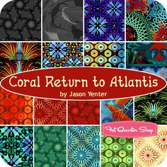 Coral Return to Atlantis Fat Quarter Bundle Jason Yenter for In The Beginning Fabrics - Fat Quarter Shop