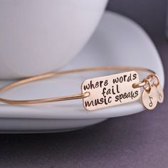Music Bracelet, Where Words Fail Music Speaks Bangle Bracelet, Music Lover Jewelry Gift, Music Note Gold Bangle Bracelet, Gold Bangles, Bracelet Box, Initial Bracelet, Music Quotes, Music Lovers, Music Stuff, Jewelry Accessories, Jewelry Ideas