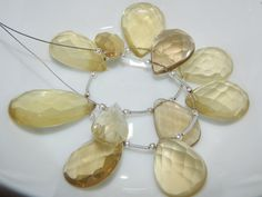 Lemon Quartz Faceted Beads Pear Shape 7Inches This Size by SRBEADS