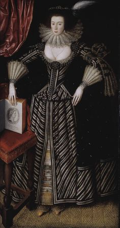Artist  British School 17th century (1600‑1699)  Title  Portrait of a Lady, probably Mrs Clement Edmondes  Date circa 1605-10 #17th century #stripes