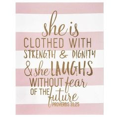 Proverbs 31:25 Striped Canvas Wall Art