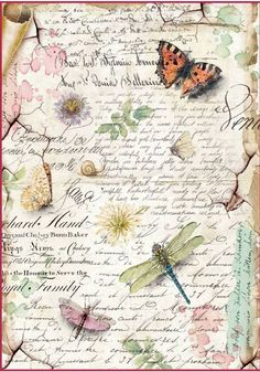 Stamperia Rice Paper, Decoupage Paper - Dragonflies and Butterflies A fun and unique addition to scrapbook pages, cards and more! This package contains one inch rice paper sheet. Vintage Diy, Decoupage Vintage, Vintage Images, Vintage Paper Crafts, Vintage Music, Vintage Ephemera, Vintage Travel, Scrapbooking, Scrapbook Paper