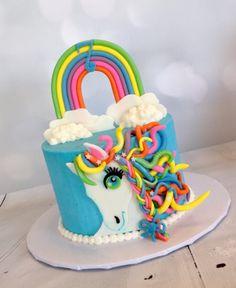 Lisa Frank inspired cake, rainbow horse