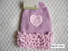Ruffled Dog Sweater Hand Knit Pet Sweater Size XSMALL by dogoncozy