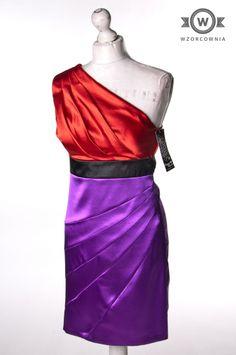 >> Satynowa #czerwono-fioletowa #sukienka na jedno ramię #Wzorcownia #online   #SeguinHearts #dress
