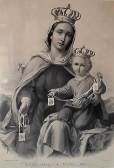 Our Lady of Mount Carmel and scapular Mother Of Christ, Blessed Mother Mary, Divine Mother, Blessed Virgin Mary, Catholic Religion, Catholic Art, Catholic Saints, Religious Images, Religious Icons