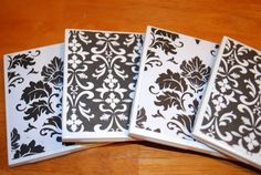 mod podge coasters (buy coasters at lowe's and mod podge scrapbook paper on to them)
