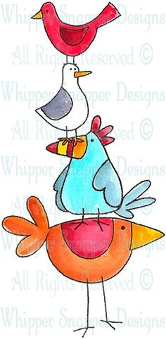 Birds of a Feather - Birds - Animals - Rubber Stamps