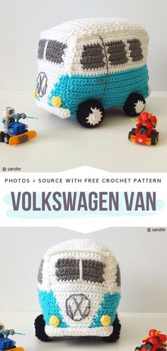 Summer is the start of camping season so why not take on your next trip fun projects such as Camper Van Amigurumi. They are easy to crochet and make a Crochet Car, Hippie Crochet, Crochet Gratis, Crochet Books, Free Crochet, Puppet Patterns, Amigurumi Patterns, Crochet Patterns, Crochet Stitches