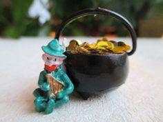 Dollhouse Miniatures ~ St. Patrick's Day ~ Pot of Gold w/ Leprechaun & Harp