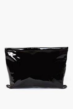 Oversized Patent Clutch in Black