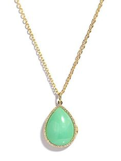 Irene Neuwirth diamond and mint chrysoprase locket necklace.