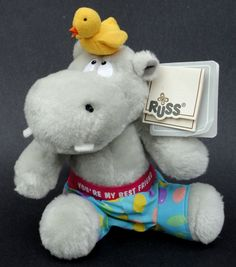 Russ Luv Pets Hippo & Bird Grey Yellow Plush You're My Best Friend Hang Tags