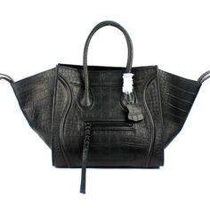 Celine Black Boston Croco Leather Bags  Celine Boston Bags 029  -  365.00    Celine af5882c6ebc53