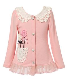 This Light Pink Lace Flower Cardigan - Toddler & Girls is perfect! #zulilyfinds