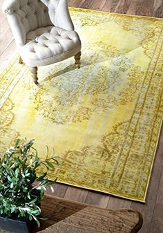 nuLOOM Remade Overdyed Collection Chroma Transitional Traditional Machine Made Area Rug, 8-Feet 2-Inch by 9-Feet 11-Inch, Funky Yellow. An old world look combined with modern furnishings would work, or just go traditional. #yellowrug #yellowarearug #yellowdecor