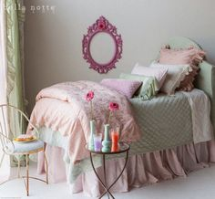 New Bella Notte Spring Collection 2014: Pennelope.  Pennelope, a delicate floral jacquard with exquisite two-tone patterning and heirloom design. You'll love the bohemian elegance, textured hand, and sweet ruffle that adorns each sham and pillow.